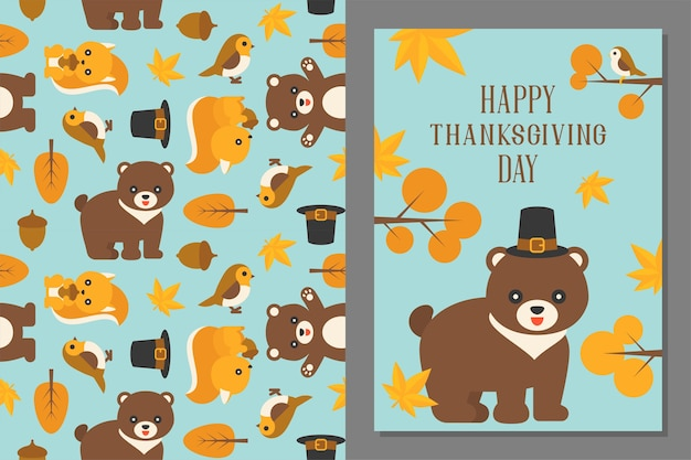 Thanksgiving wild animal seamless pattern and greeting card template in flat design