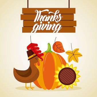 Thanksgiving wooden board lettering turkey pumpkin and sunflower