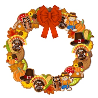 Thanksgiving wreath with gingerbread cookies and red bow