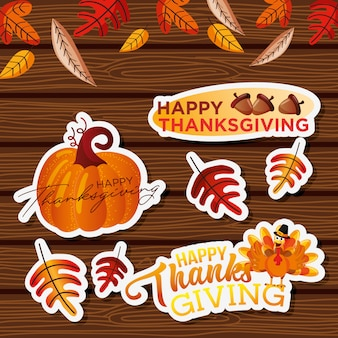 Thanksgivings stickers over wood