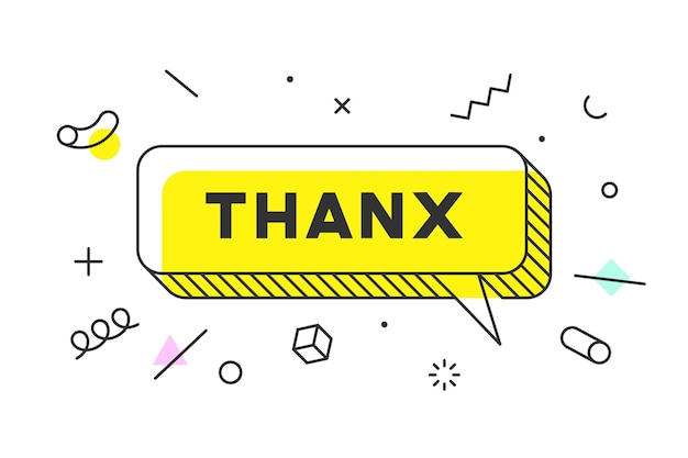 Thanx or thank you. banner, speech bubble, poster concept