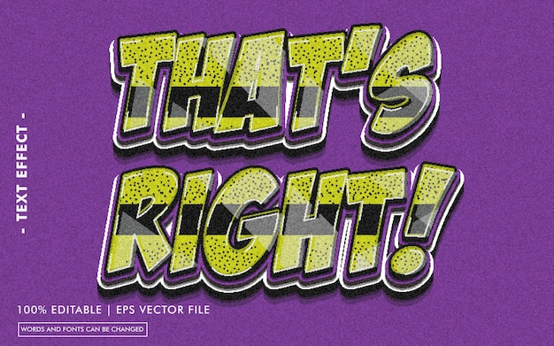 That's right! text effect style