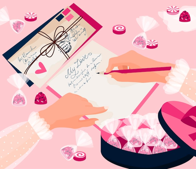 14 февраля. концепция дня святого валентина. девушка пишет любовное письмо, сладости, конфеты и коробку конфет. розовый фон. открытка, плакат, флаер.