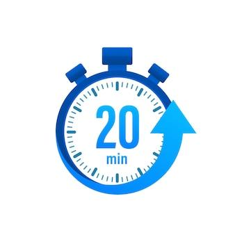 20 минут, значок секундомера вектор. значок секундомера в плоский, таймер на цветном фоне. векторная иллюстрация.