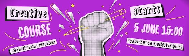 미술 학교를 위한 추상 콜라주 배너입니다. 하프톤 손과 스플래시 요소, 현대적인 디자인. 그런 지 템플릿입니다.