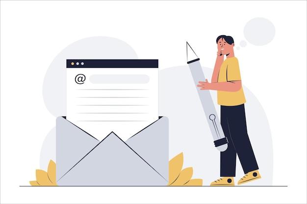 관리 직원은 스마트폰으로 온라인으로 회사 고객에게 이메일을 보냅니다.