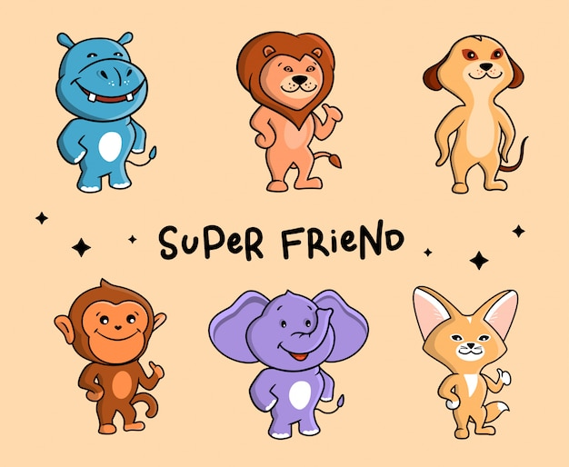 귀여운 동물 세트. 여섯 사파리 만화 캐릭터.