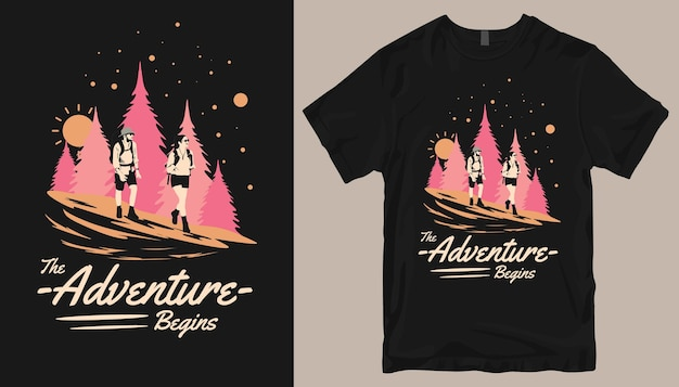 Приключение начинается, дизайн футболки adventure.