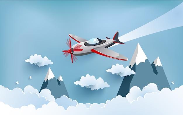 아름다운 구름 배경 비행기입니다.