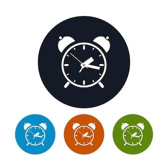Значок будильника, четыре типа красочных круглых значков, векторные иллюстрации