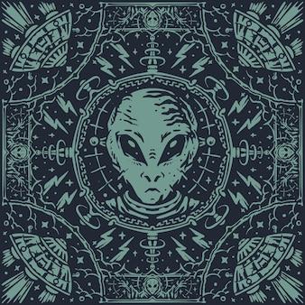 외계인 실험실 빈티지 패턴 두건