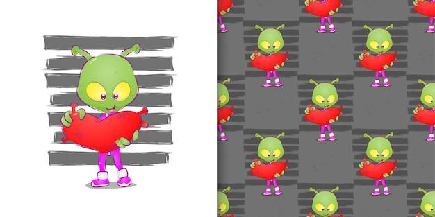 Инопланетянин с большой головой держит вирус сердца на наборе шаблонов