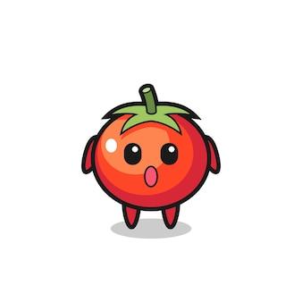 Удивленное выражение мультфильма помидоры, милый стиль дизайна для футболки, наклейки, элемента логотипа