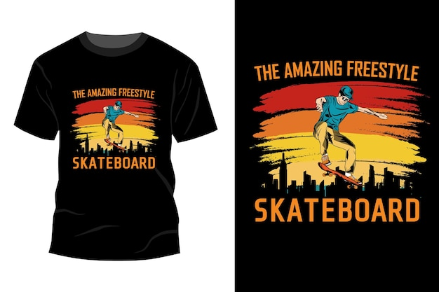 驚くべきフリースタイルスケートボードtシャツモックアップデザインヴィンテージレトロ