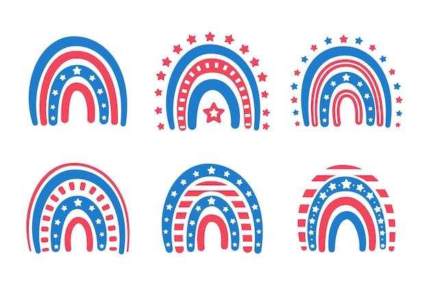 많은 별이 장식 된 미국 국기 무지개.