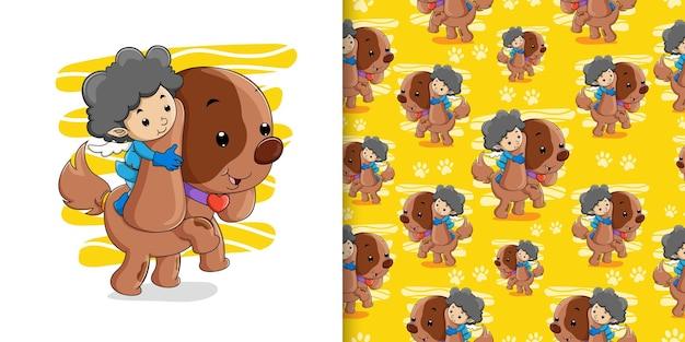 天使はイラストのセットパターンで長い耳を持つ小さな子犬と遊んでいます