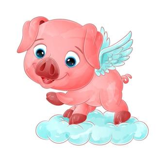 Свинья-ангел с маленькими крыльями летит с волшебным облаком иллюстраций