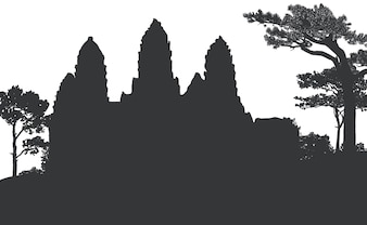 Angkor wat, cambodia, objects, colourful, silhouette and line.