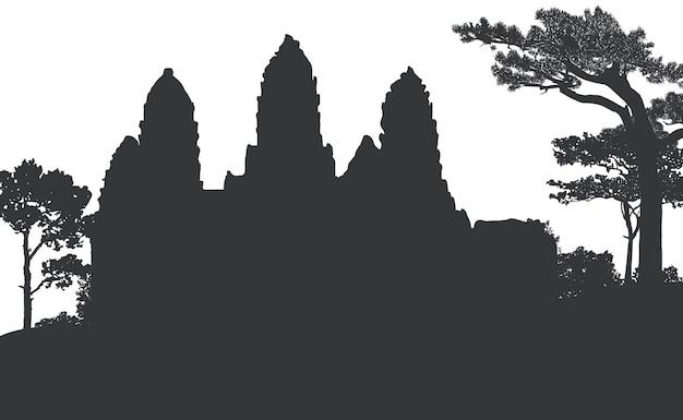 Храм ангкор-ват силуэт вектор дизайн