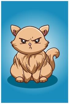 Сердитая иллюстрация коричневого кота