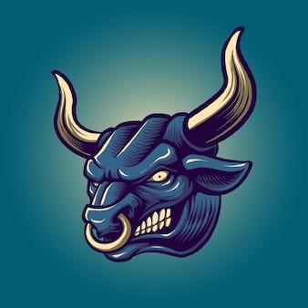 怒っている雄牛の頭のイラスト