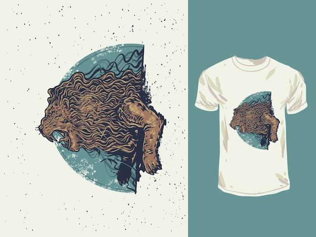Злой лев, ревущий с рисованной иллюстрацией винтажных цветов