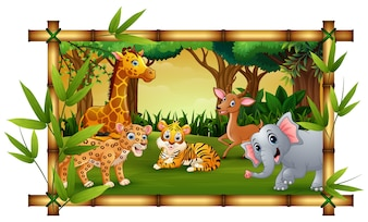 The animals playing together with bamboo frame
