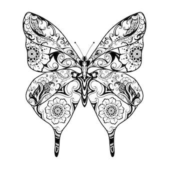 Анимация красивого орнамента в стиле дзентангл в виде бабочки для вдохновения.