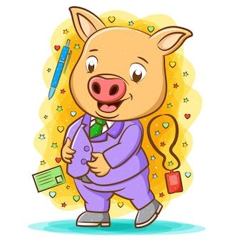 행복한 돼지의 애니메이션은 필기 도구 주위에 보라색 모음을 사용합니다.