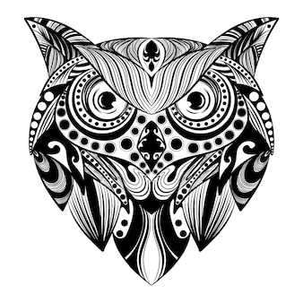 Анимация додла-арта совы с орнаментом в виде пуль для иллюстрации татуировки