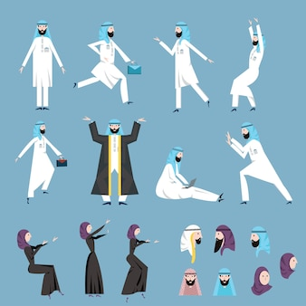 Арабские люди, мужчины и женщины в арабских национальных костюмах в разных позах. набор иллюстраций.