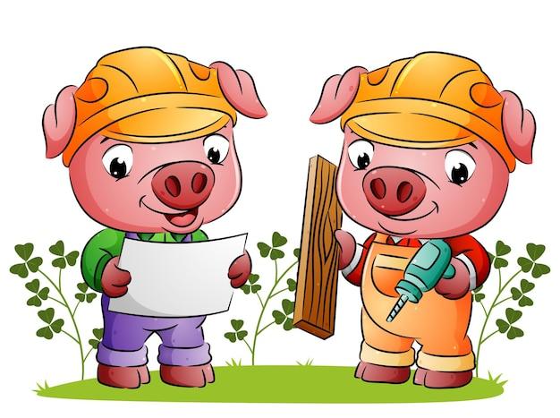Свиньи-архитекторы рассказывают план строителю, который держит сверло иллюстрации.