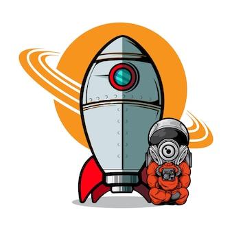 宇宙飛行士とロケット船のイラスト