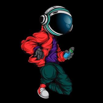 도시의 거리 복장으로 행동하는 우주 비행사