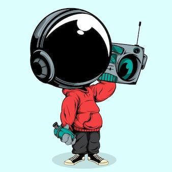 Астронавт, прослушающий музыкальное радио и удерживающий спрей, может Premium векторы