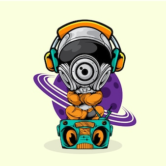 Астронавт сидеть на радио и слушает музыку