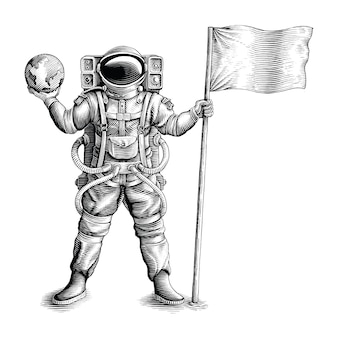 Астронавт, стоящий и держащий флаг и глобус, рисует в винтажном стиле гравюры
