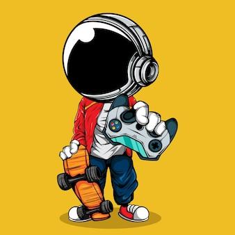 Астронавт с джойстиком гамепадом и скейтбордом