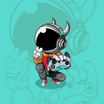 ジョイスティックゲームパッドのイラストを使用した宇宙飛行士