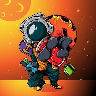 도시복을 입은 우주인과 스프레이 페인트