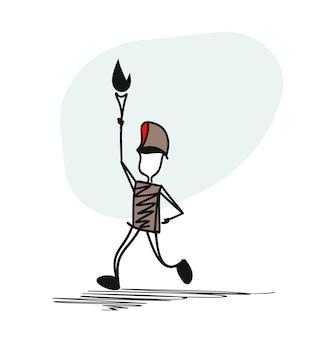 운동 선수는 길을 따라 달린다. 그는 올림픽 성화를 들고 있다.