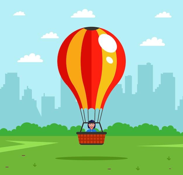 アトラクションは熱気球で空中に浮かび上がります。