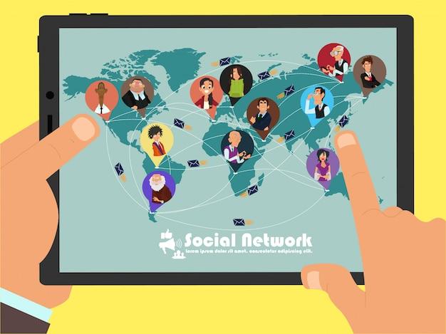 Наличие общения между людьми в разных странах через социальные сети. концепция свободного мира.