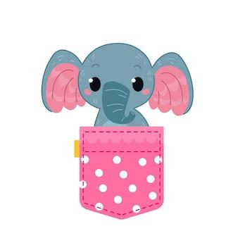 Слоненок сидит в одежде милое африканское животное милый розовый горошек