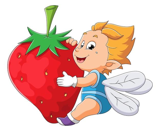 Младенец с крыльями мухи обнимает клубнику иллюстрации