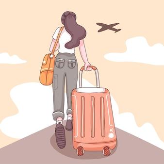 Задняя часть женщины-туристки с длинными волосами, тащащая чемодан, самолет и облако по небу в мультипликационном персонаже, плоская иллюстрация