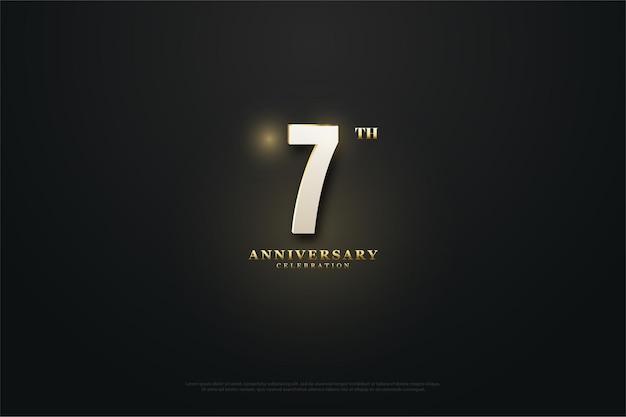 숫자와 빛이 가운데에 타오르는 7 주년 기념 배경