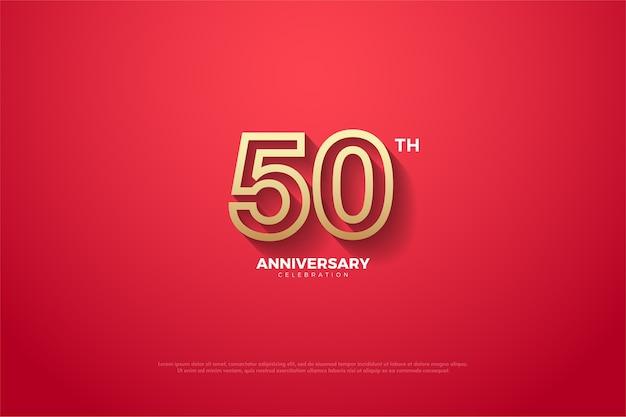 50 주년 기념 배경은 빨간색이고 숫자 가장자리에 금색 줄무늬가 있습니다.