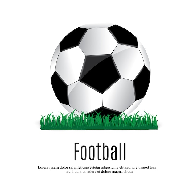 ボールは草の上にあります。サッカーの試合。図。美しいボールと緑の草。リーフレットデザインテンプレート。サッカーのポスターはサッカーを招待します。