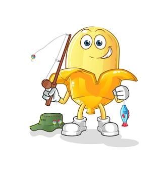 Иллюстрация рыбака банана. характер